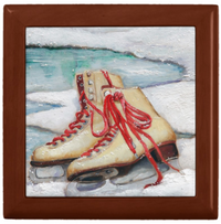 Keepsake/Jewelry Box - Ice Skates - Golden Oak Lacquer Box - Ceramic Tile Lid