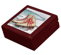 Keepsake/Jewelry Box - Ice Skates - Mahogany Lacquer Box