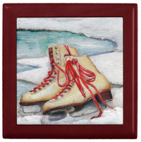 Keepsake/Jewelry Box - Ice Skates - Mahogany Lacquer Box - Ceramic Tile Lid