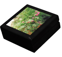 Keepsake/Jewelry Box - Hollyhock Florals - Black Lacquer Box