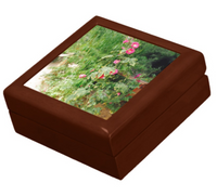 Keepsake/Jewelry Box - Hollyhock Florals - Golden Oak Lacquer Box