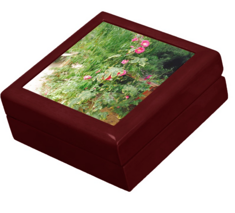 Keepsake/Jewelry Box - Hollyhock Florals - Mahogany Lacquer Box
