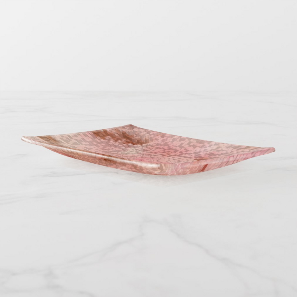 Trinket Tray - Abstract Pink - Rectangle Medium - Side View