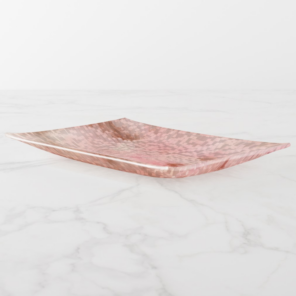 Trinket Tray - Abstract Pink - Rectangle Large - Side View