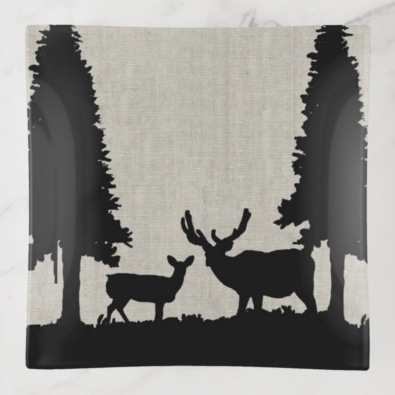 Trinket Tray - Country Style - Deer in Forest - Square