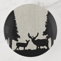 Trinket Tray - Country Style - Deer in Forest - Round