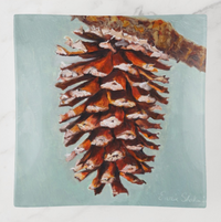 Trinket Tray - Holiday Design - Pine Cone - Square