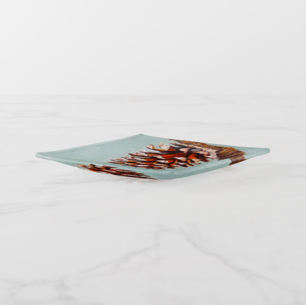 Trinket Tray - Holiday Design - Pine Cone - Square -Side View