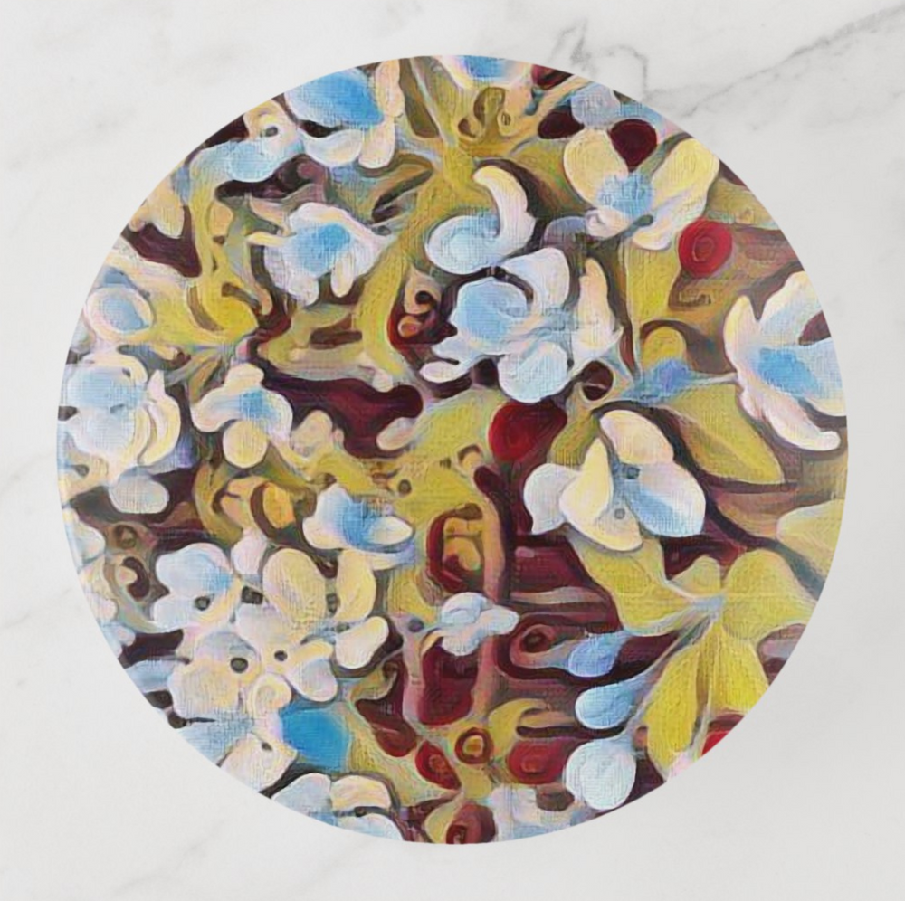 Trinket Tray - Floral Design - Abstract Cherry Blossoms - Round