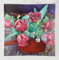 Trinket Tray - Red Tulips - Square