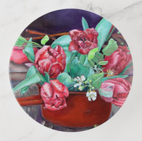 Trinket Tray - Red Tulips - Round