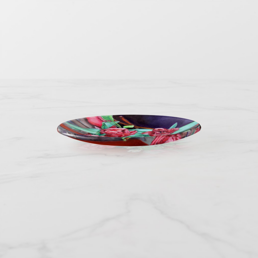 Trinket Tray - Red Tulips - Round - Side View