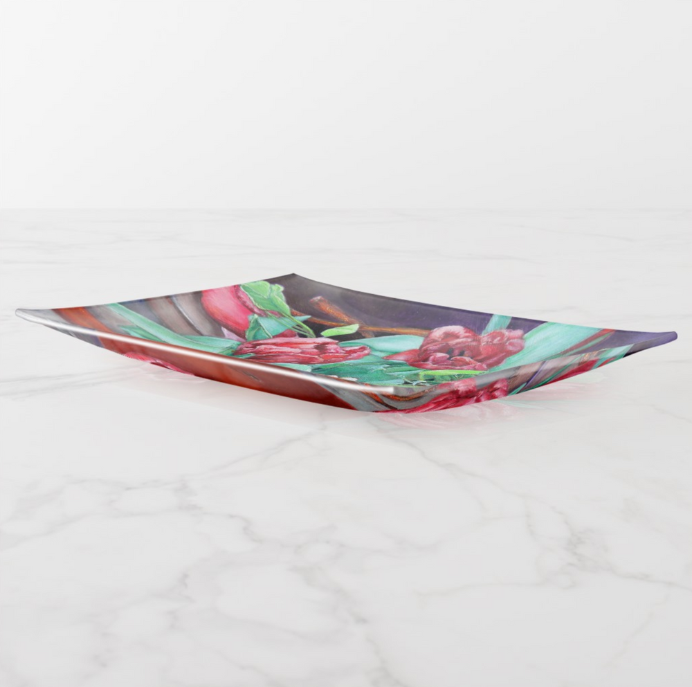Trinket Tray - Red Tulips - Rectangle - Side View