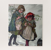 Christmas Jigsaw Puzzle - Children Gathering Mistletoe - Portraits by NC