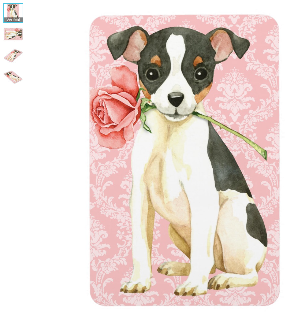 Valentine Rose Magnet - Fox Terrier Large