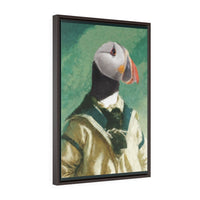 Puffin Ahoi - Vertical Framed Premium Gallery Wrap Canvas
