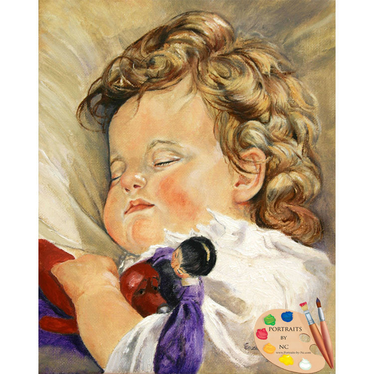 Sleeping Baby with Toy Painting