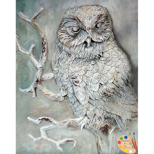Barn Owl Painting Print 295 - Portraits by NC