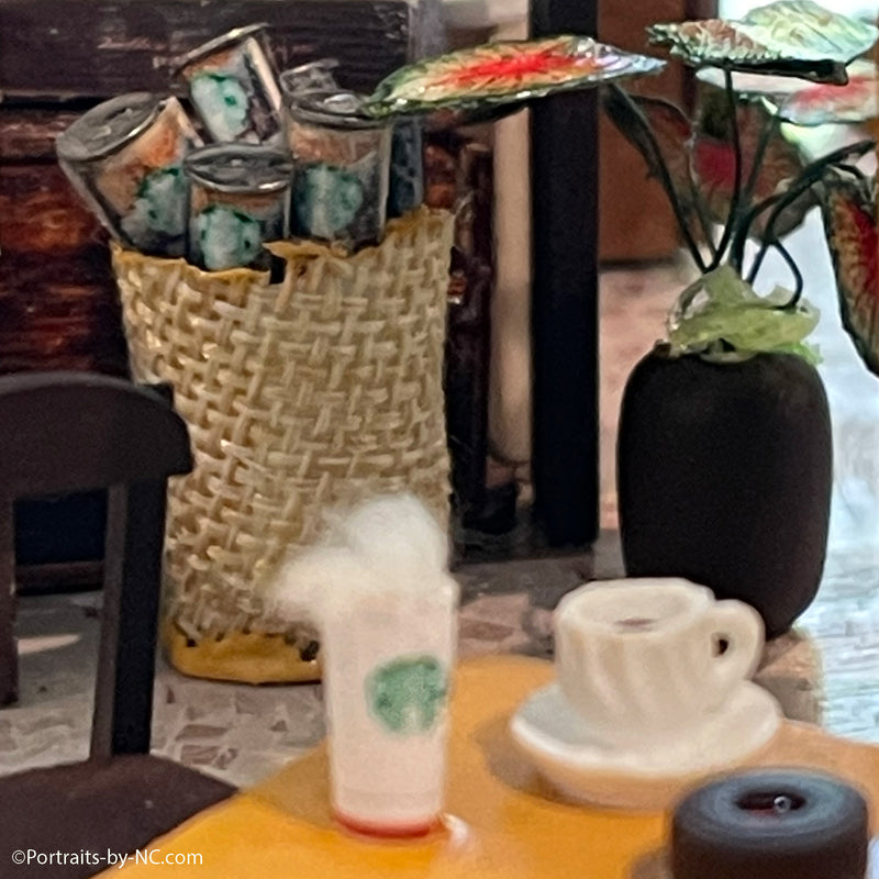 basket with drinks at starbucks