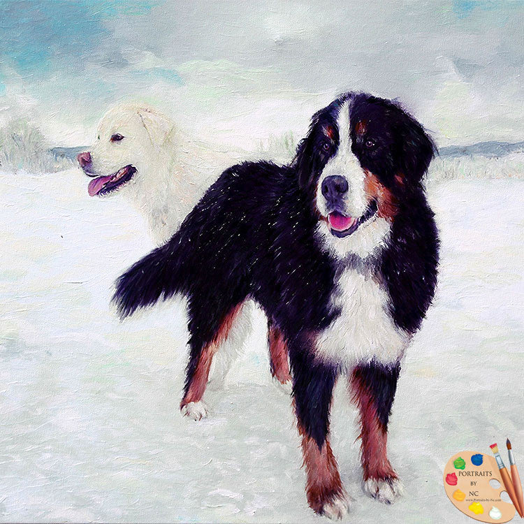 Great Pyrenees and Bernese Dog Portrait 414