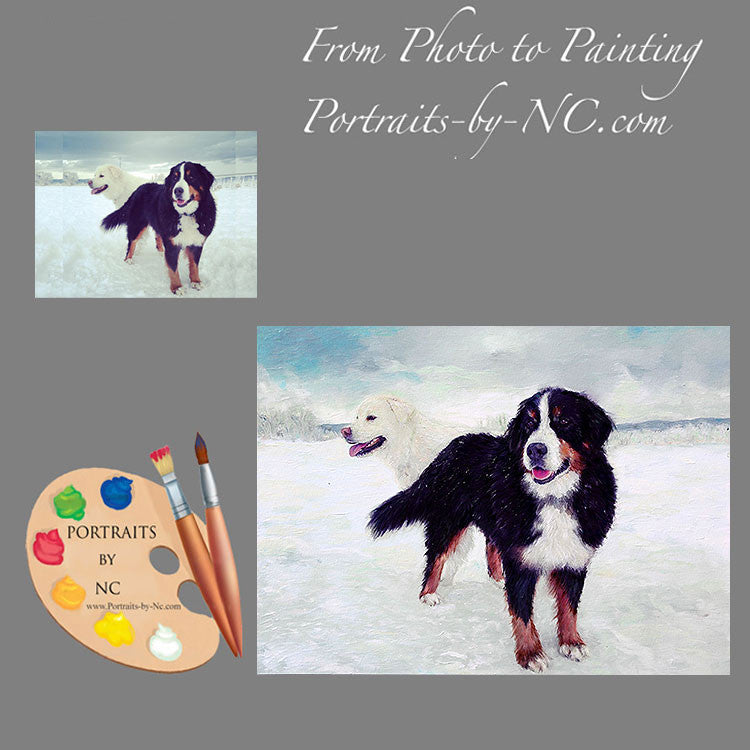 Great Pyrenees and Bernese Dog Portrait from Photo 414
