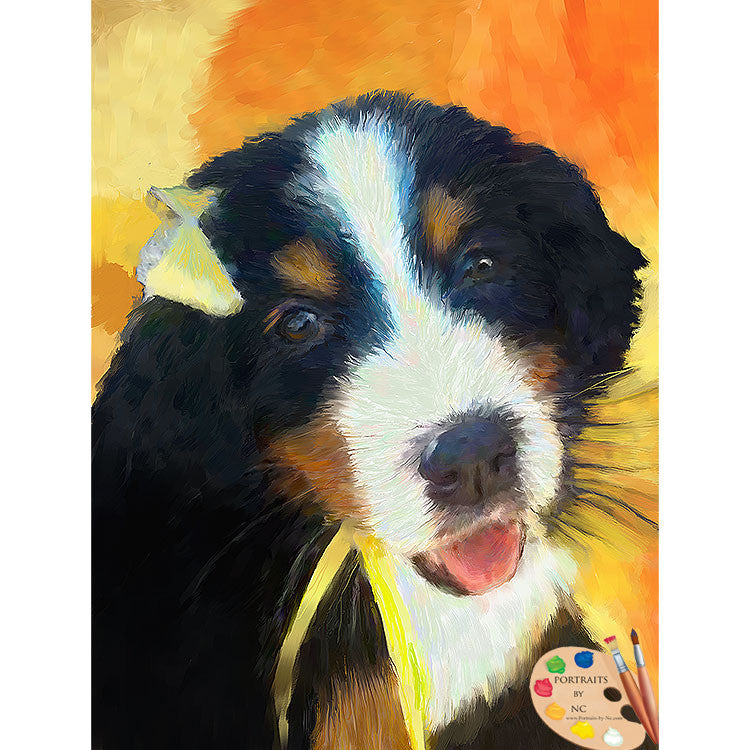 Bernese Mountain Dog Puppy Painting