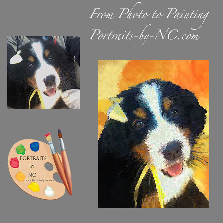 Bernese Mountain Dog Puppy Portrait from Photo