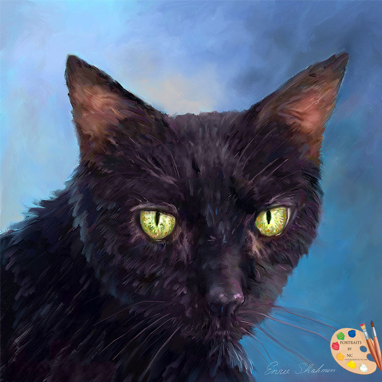 Black Cat Painting 273 - Portraits by NC