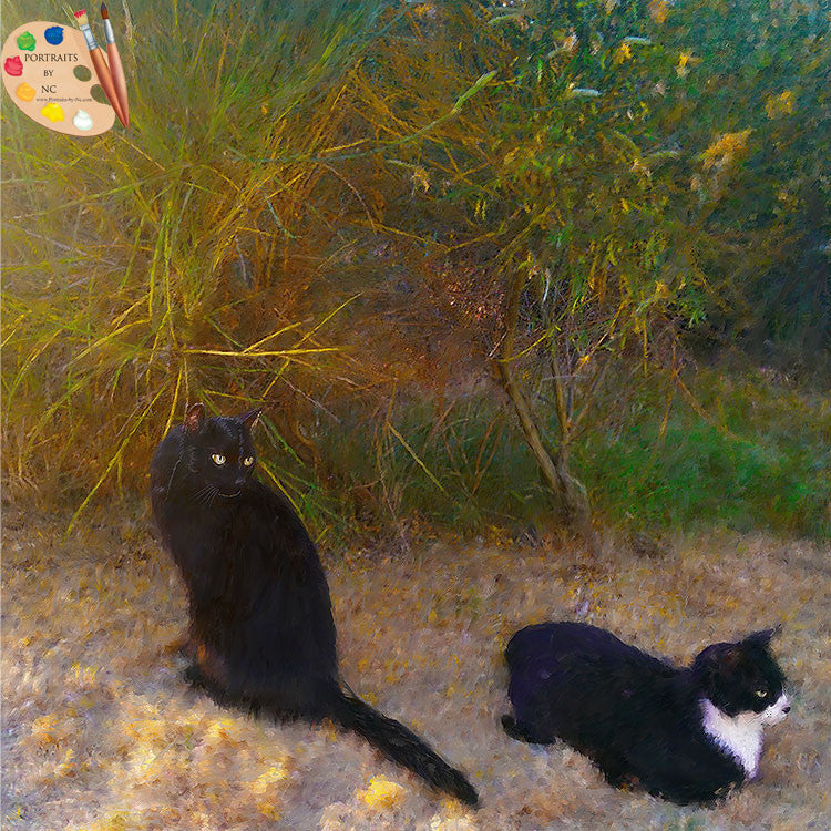 Two Cats on Sand Painting