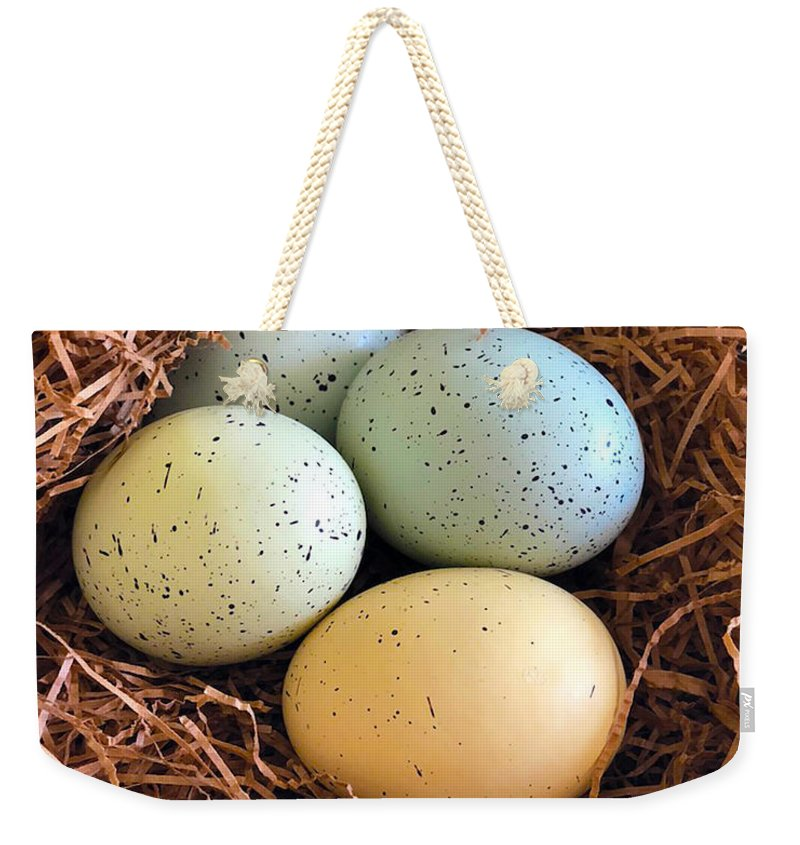 Blue And Yellow Easter Eggs - Weekender Tote Bag - Portraits by NC