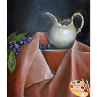 Still Life Painting of Blueberries and Cream 126