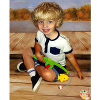 Toddler Portrait of Boy Fishing 359