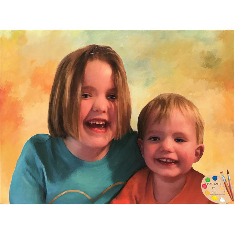 Siblings Oil Portrait