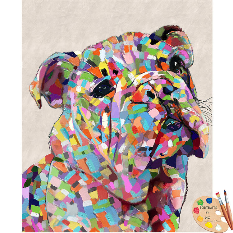 Colorful Bulldog Pet Painting