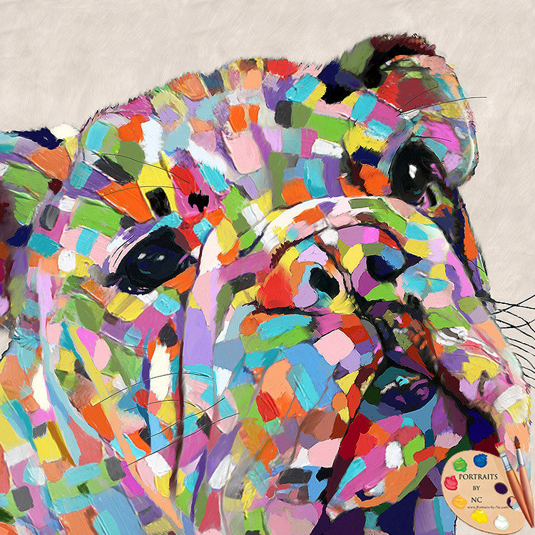 Colorful Bulldog Pet Portrait
