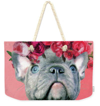 Bulldog With Flowers - Weekender Tote Bag - Portraits by NC