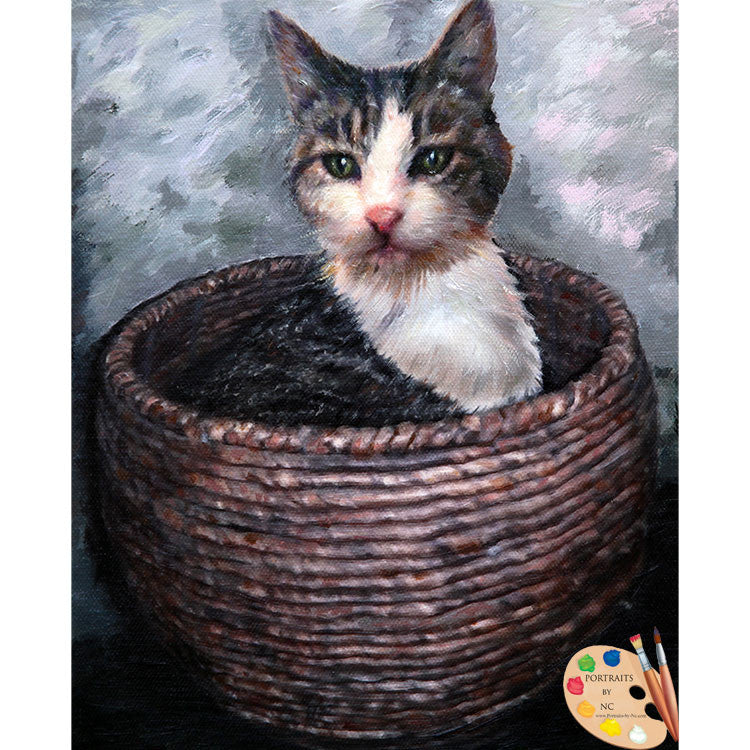 Cat in Basket Painting