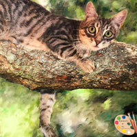 Cat in Tree Portrait