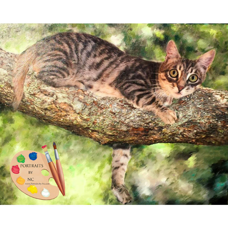 Cat in Tree Painting