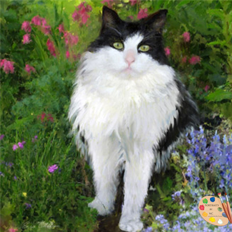 Painting of Cat in Garden 256 - Portraits by NC