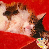 Tabby Cat Oil Painting 624