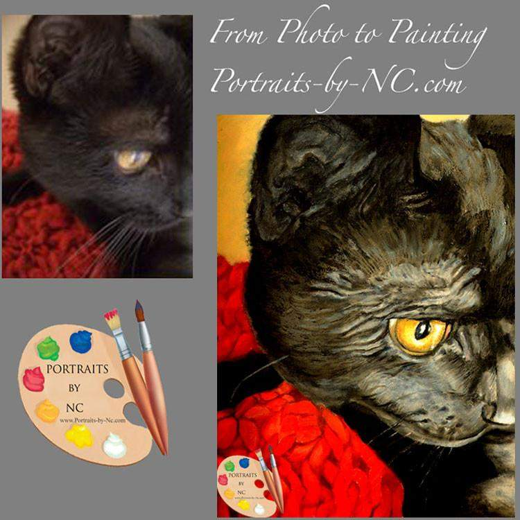 Black Cat Portrait  - Cat Portraits in Oil from Your Photo 75 - Portraits by NC