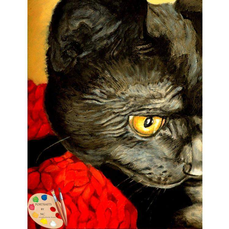 Black Cat with Yellow Eyes Painting