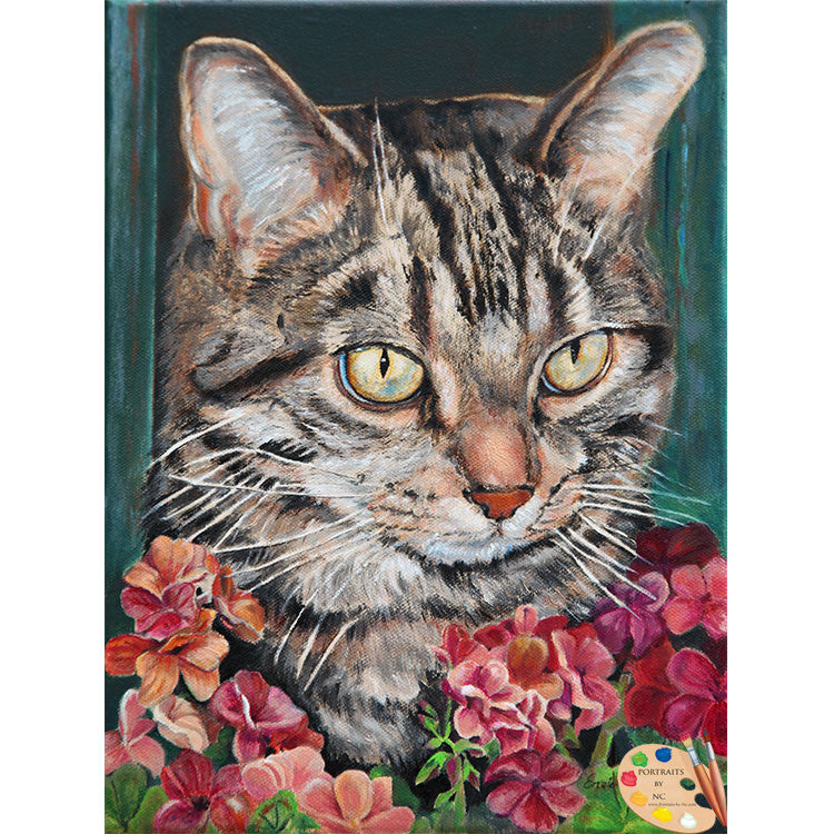 Tabby Cat with Flowers Portrait