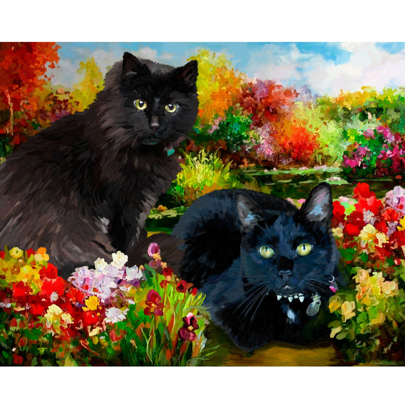 Portrait of Black Cats in Oil
