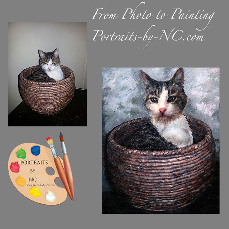 Cat in Basket Portrait from Photo
