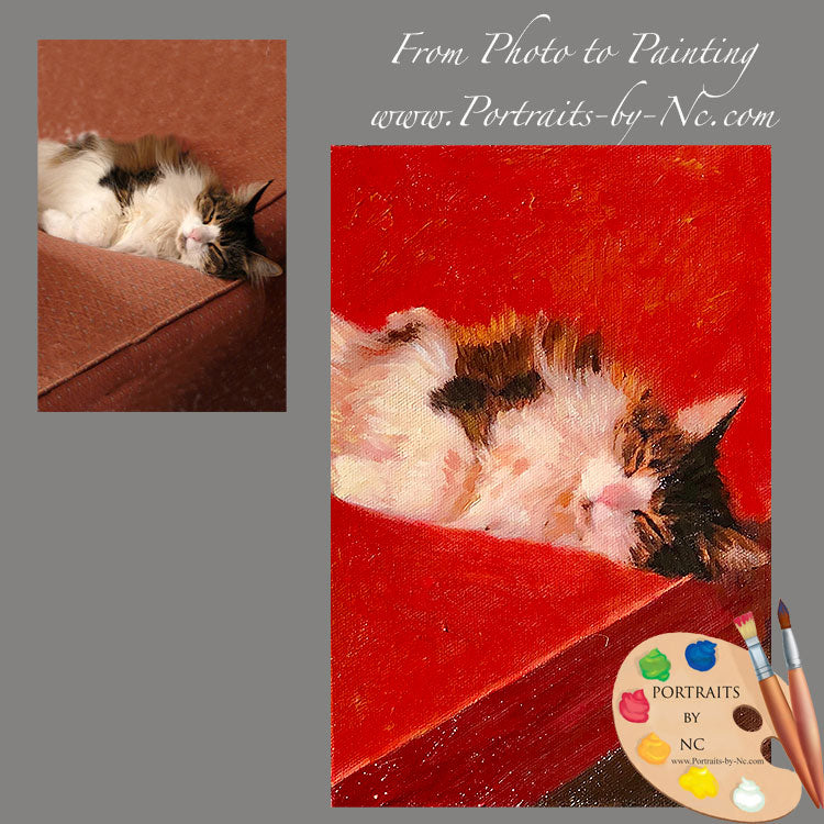 Tabby Cat Oil Portrait from Photo 624