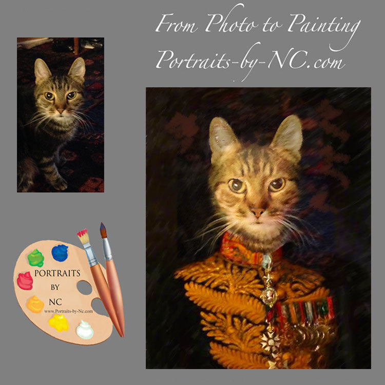 Cat in Military Costume Painting from Photo
