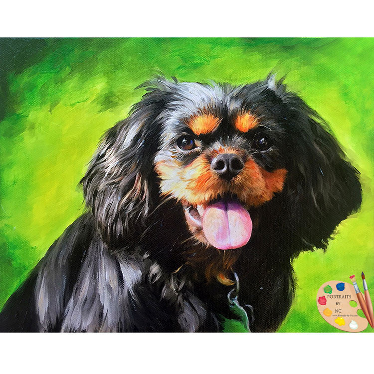 Black Cavalier King Charles Painting
