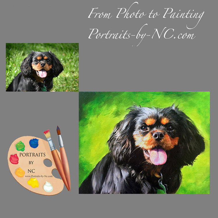 Black Cavalier King Charles Portrait from Photo